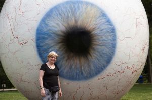 Kate and Giant Eyeball by Tony Tassett (2007) Laumeier Sculpture Park, St Louis